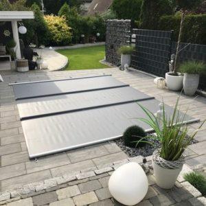 Sicherheits-Stangenabdeckung / LIDERPOOL / Beckeninnenmaße 8,0 x 4,00 m / + Winter- Sturm- Schneesicherungs- Set